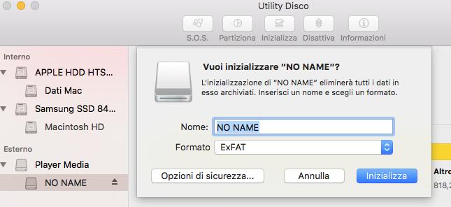 Formatta con Disk Utility
